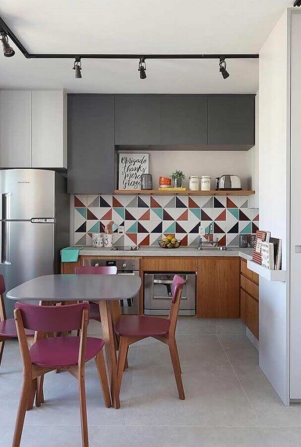 decoração colorida para cozinha sob medida de canto moderna Foto Pinterest