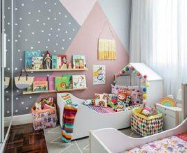 decoração colorida para quarto infantil pequeno para dois irmãos Foto MOOUI