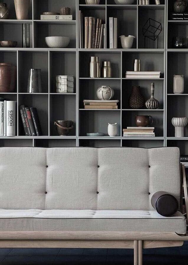 decoração com estante de nichos para sala cinza moderna Foto Futurist Architecture