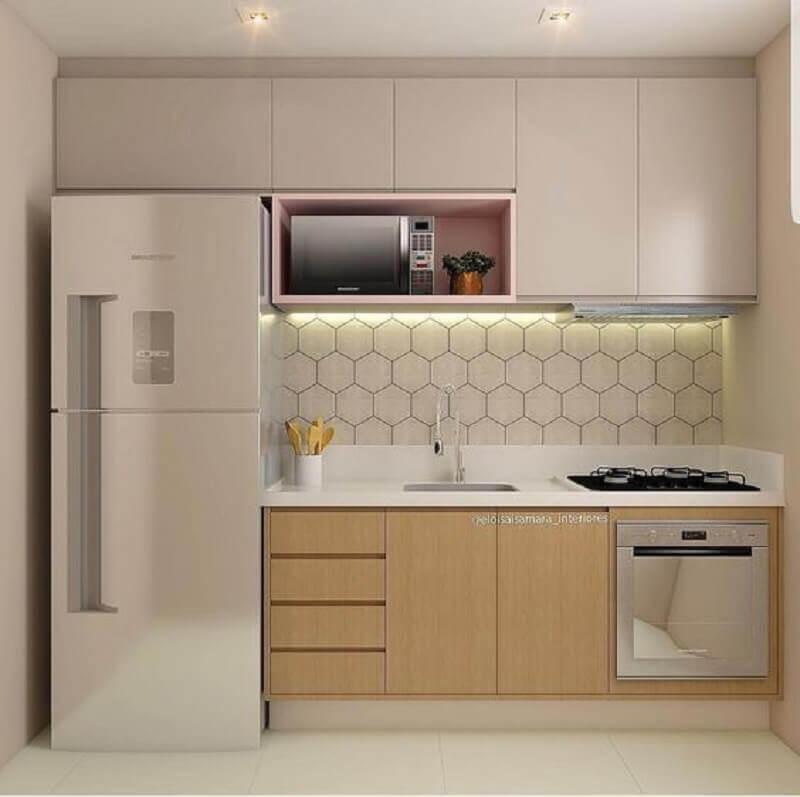 decoração com revestimento hexagonal cozinha pequena Foto Piterest