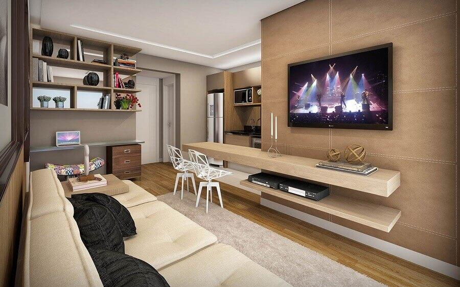 decoração com tv na parede de sala moderna planejada Foto Apartment Therapy