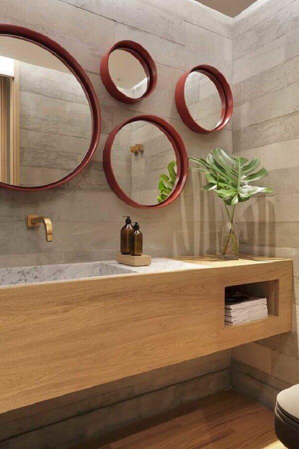 decoração com vários espelhos para banheiro redondo Foto Casa de Valentina