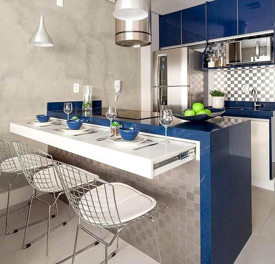 decoração de cozinha americana de apartamento pequeno azul e cinza Foto Pinterest