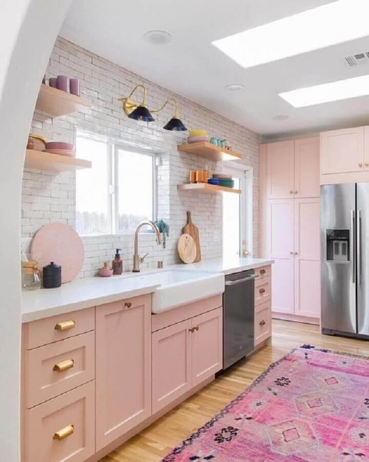 decoração de cozinha rosa candy colors Foto Pinterest