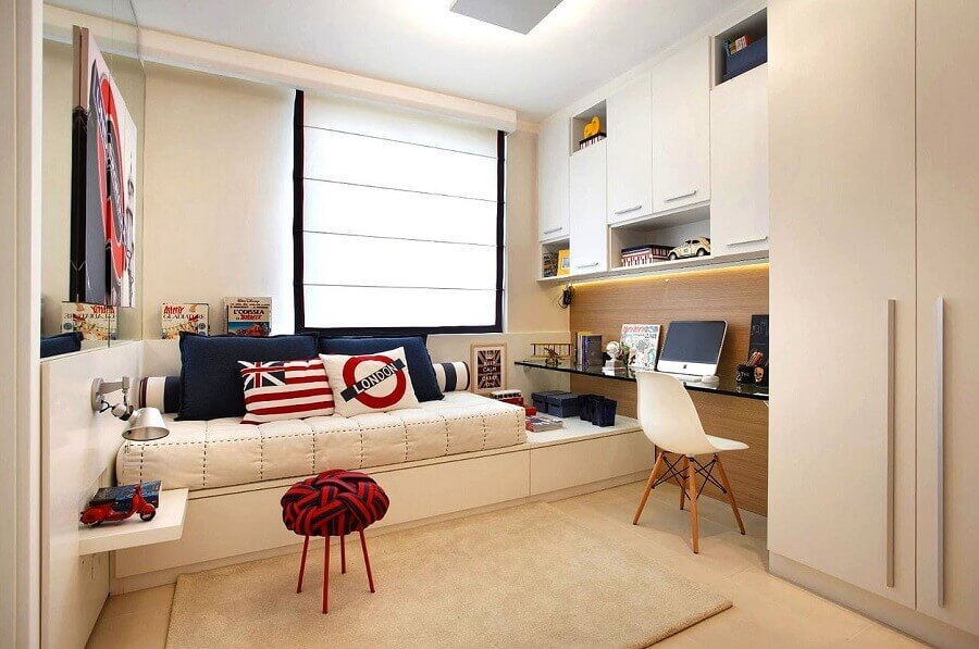decoração de quarto sob medida solteiro branco e azul Foto Home Fashion Trend
