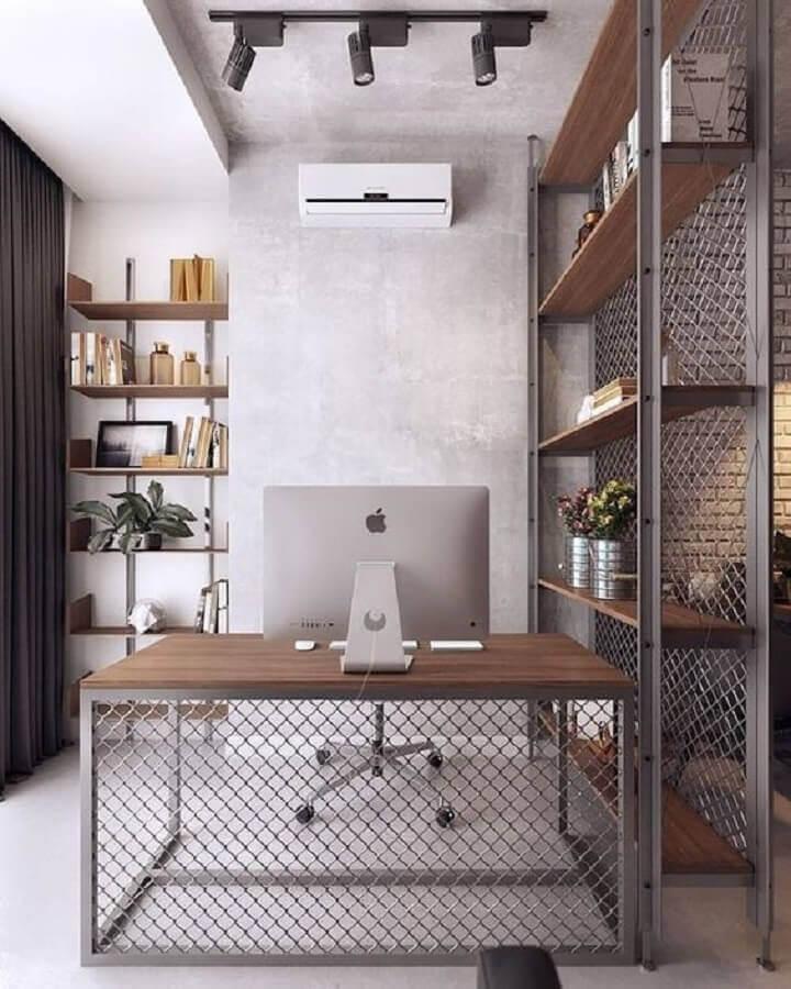 decoração estilo industrial para escritório com mesa escritório industrial  Foto Futurist Architecture
