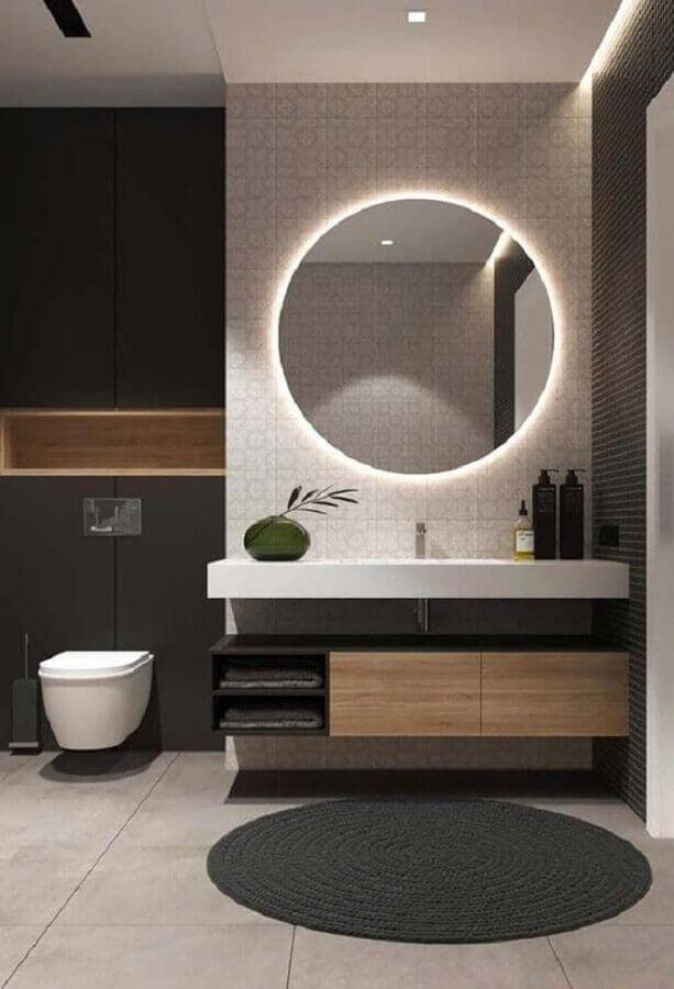 decoração moderna com iluminação embutida para espelho redondo para banheiro Foto Futurist Architecture