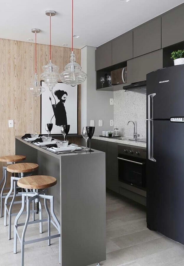 decoração moderna para cozinha sob medida pequena americana Foto Pinterest