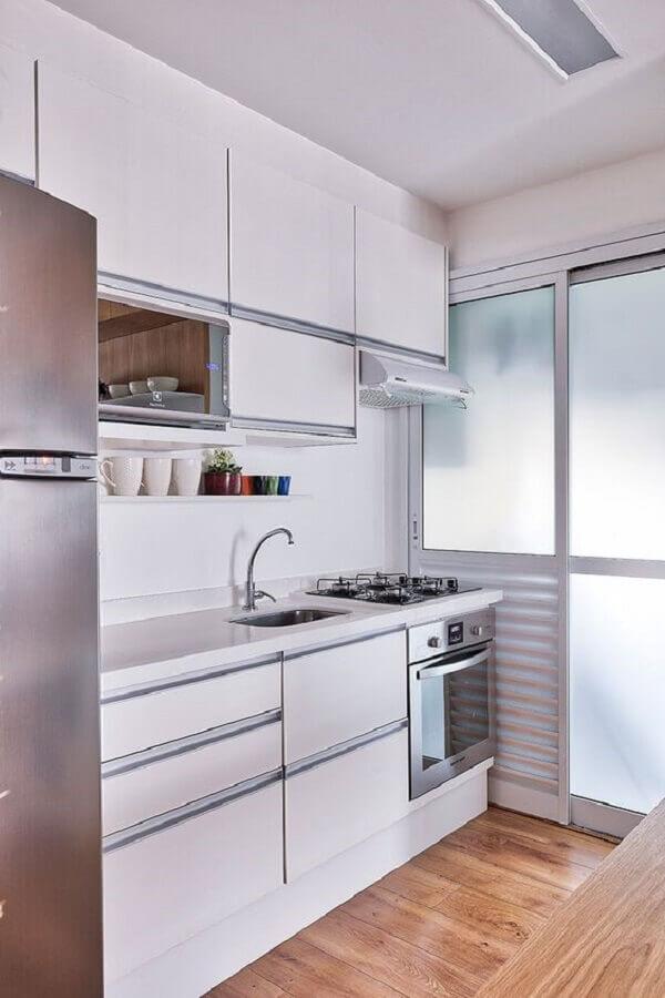 decoração para cozinha pequena sob medida toda branca Foto Casa de Valentina