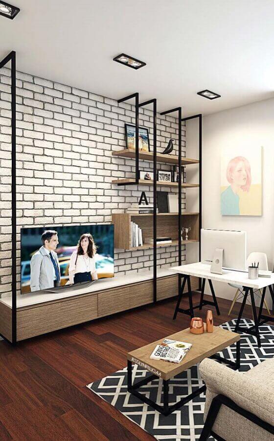 decoração simples para sala com papel de parede tijolinho branco Foto Pinterest