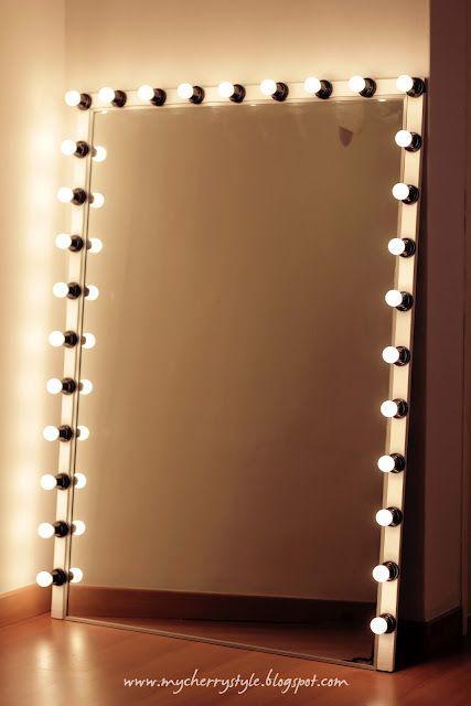 Espelho camarim de chão grande e iluminado