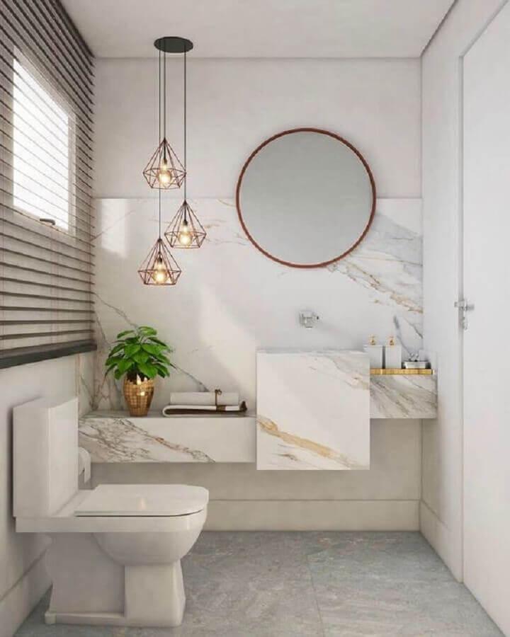 espelho redondo para banheiro branco sofisticado com bancada de mármore Foto Pinterest