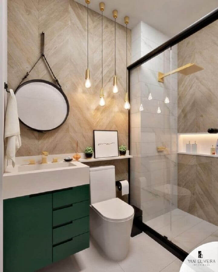 espelho redondo para banheiro com alça e gabinete planejado verde Foto Reciclar e Decorar