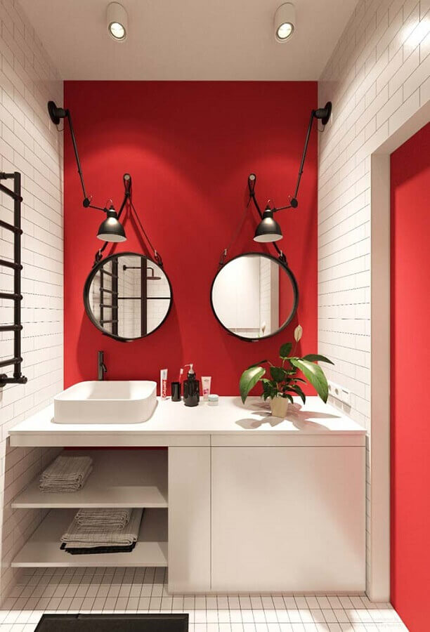 espelho redondo para banheiro vermelho e branco planejado Foto Pinterest