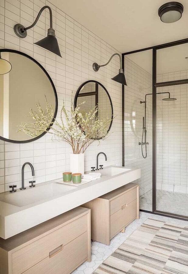 espelhos para banheiro redondo moderno decorado com arandela preta Foto Futurist Architecture