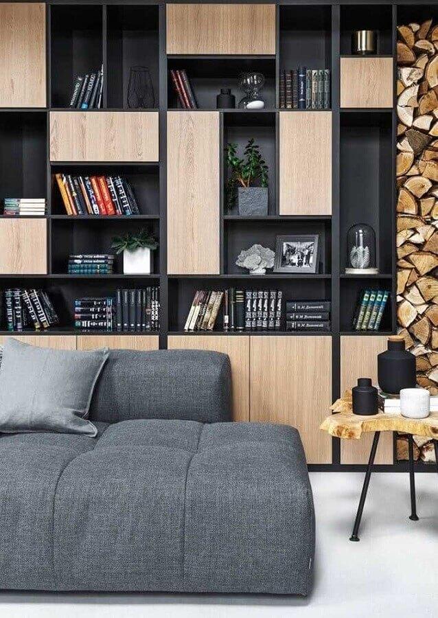estante de nichos planejada para decoração de sala moderna com sofá cinza modulado Foto Futurist Architecture