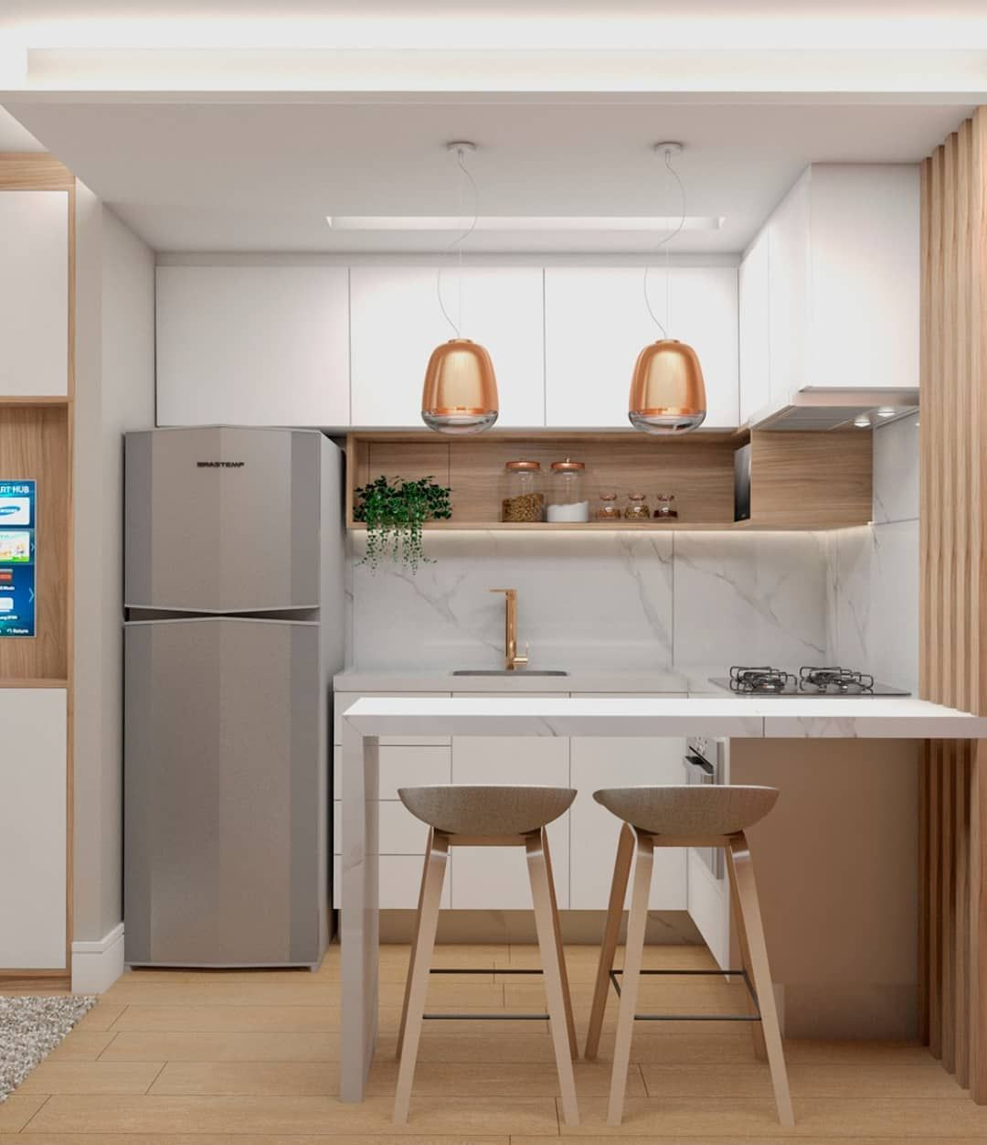 Cozinha moderna com geladeira frost free