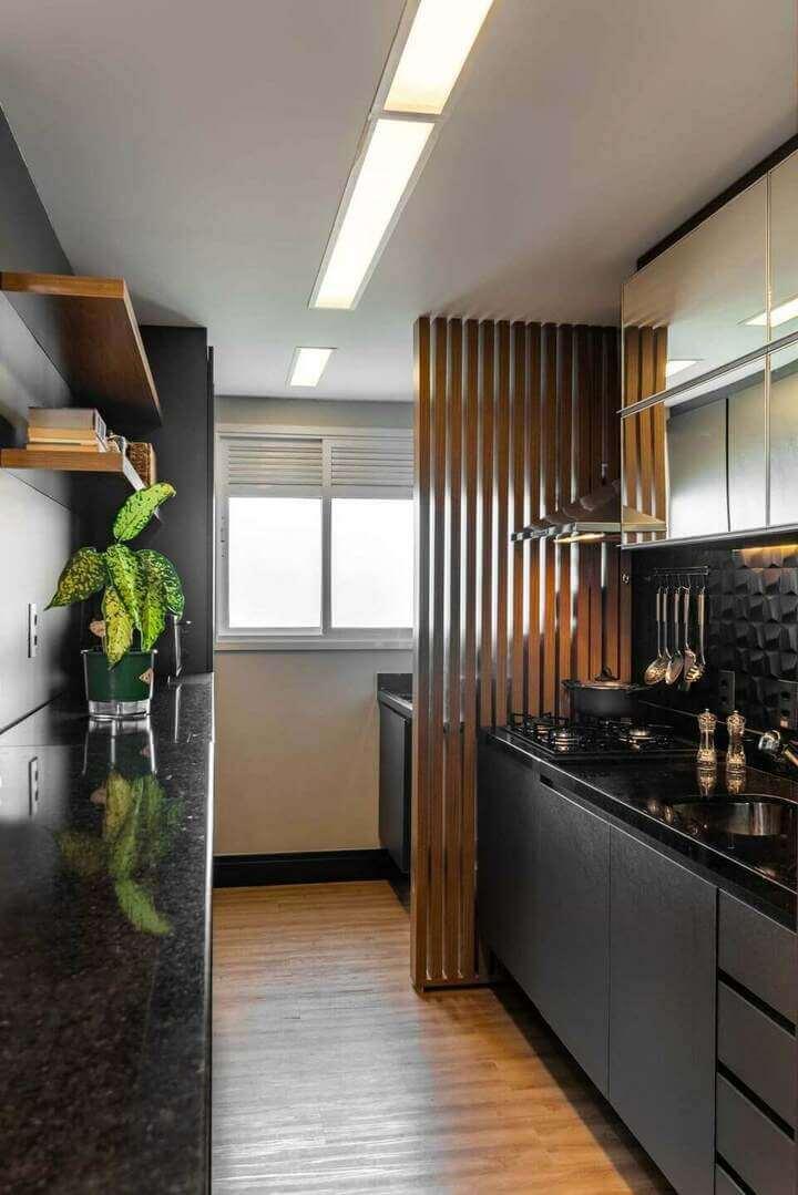 Cores de granito preto na cozinha moderno
