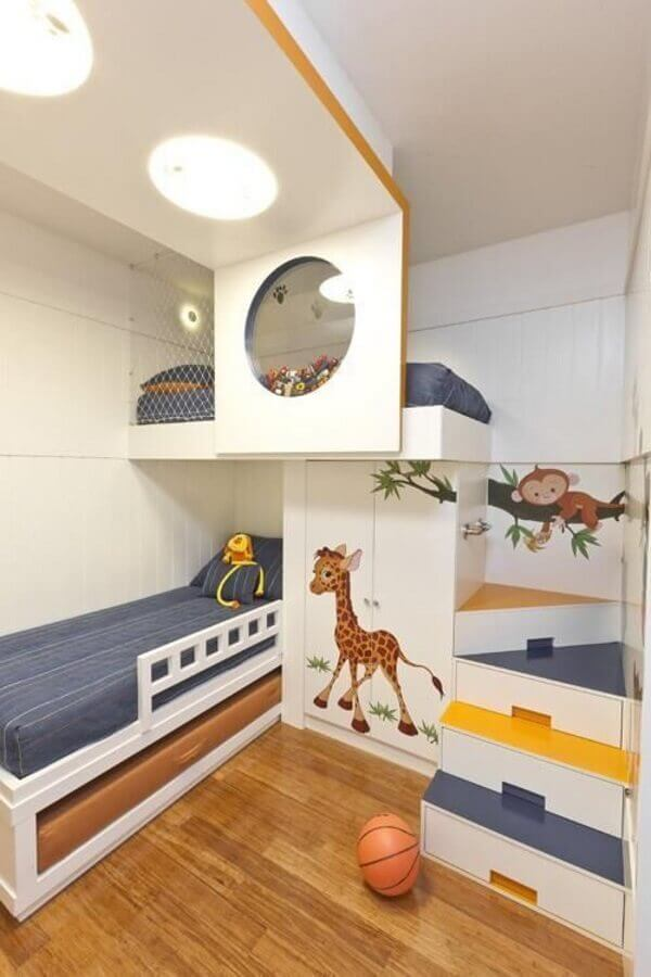 ideia para decoração de quarto infantil planejado com beliche Foto Pinterest