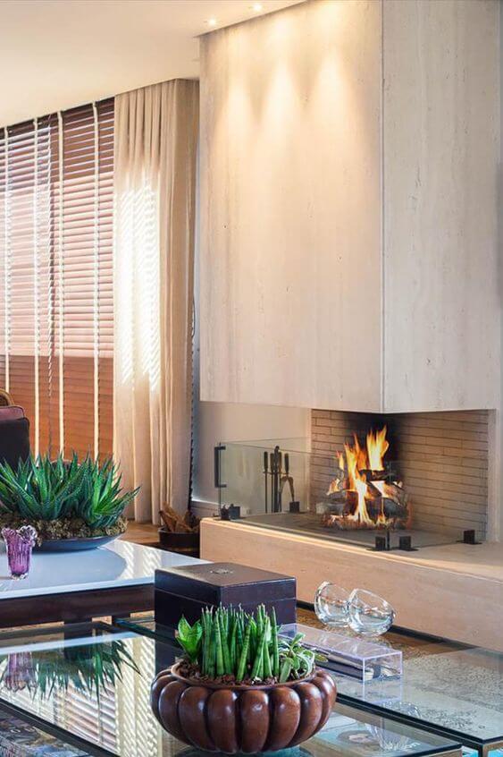 Sala de estar com lareira de canto moderna