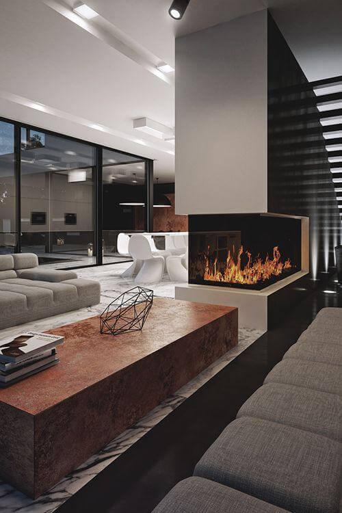 Lareira de canto na sala moderna
