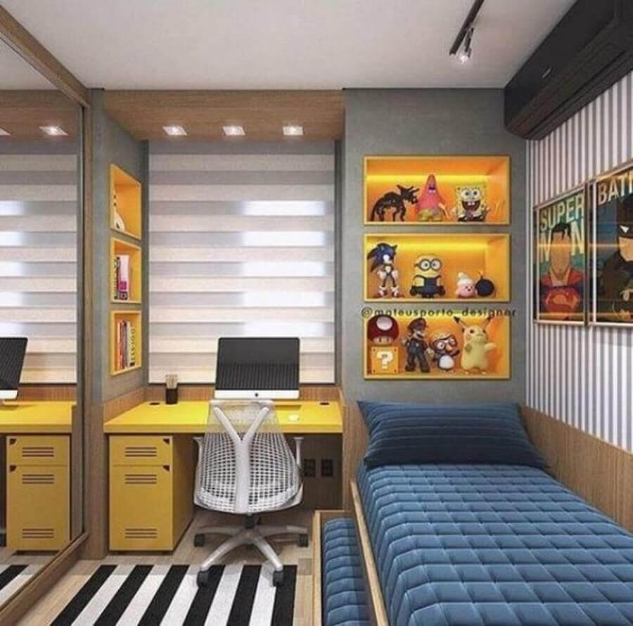 móveis sob medida quarto solteiro moderno com nichos amarelos embutidos Foto Pinterest
