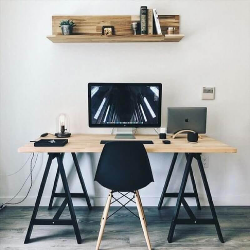 mesa escritório industrial para home office simples  Foto Pinterest