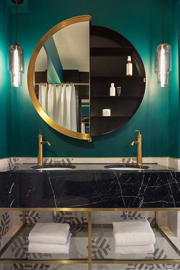modelo moderno de espelho para banheiro redondo Foto Archilovers