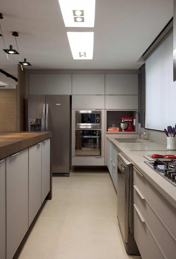 modelos de cozinha sob medida moderna com armários cinza Foto Pinterest