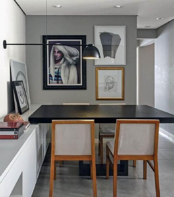 moldura de quadros diferentes para decoração de sala de jantar moderna Foto Pinterest
