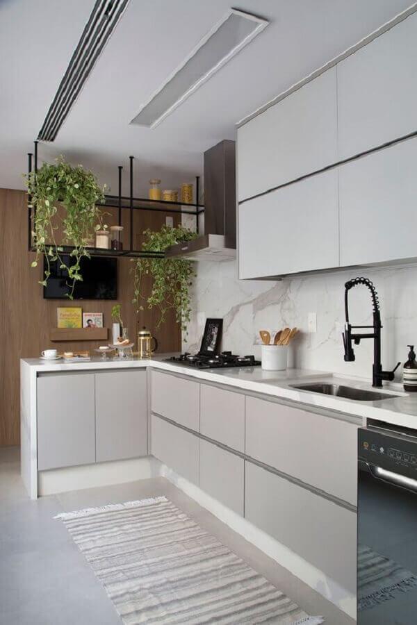 nicho industrial para decoração de cozinha sob medida de canto Foto Casa de Valentina