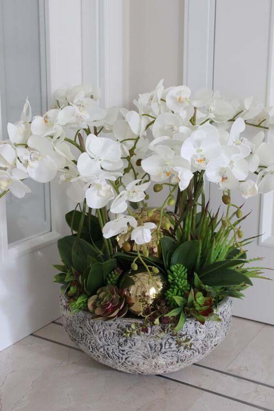 Orquídea branca no vaso moderno para decoração de casa