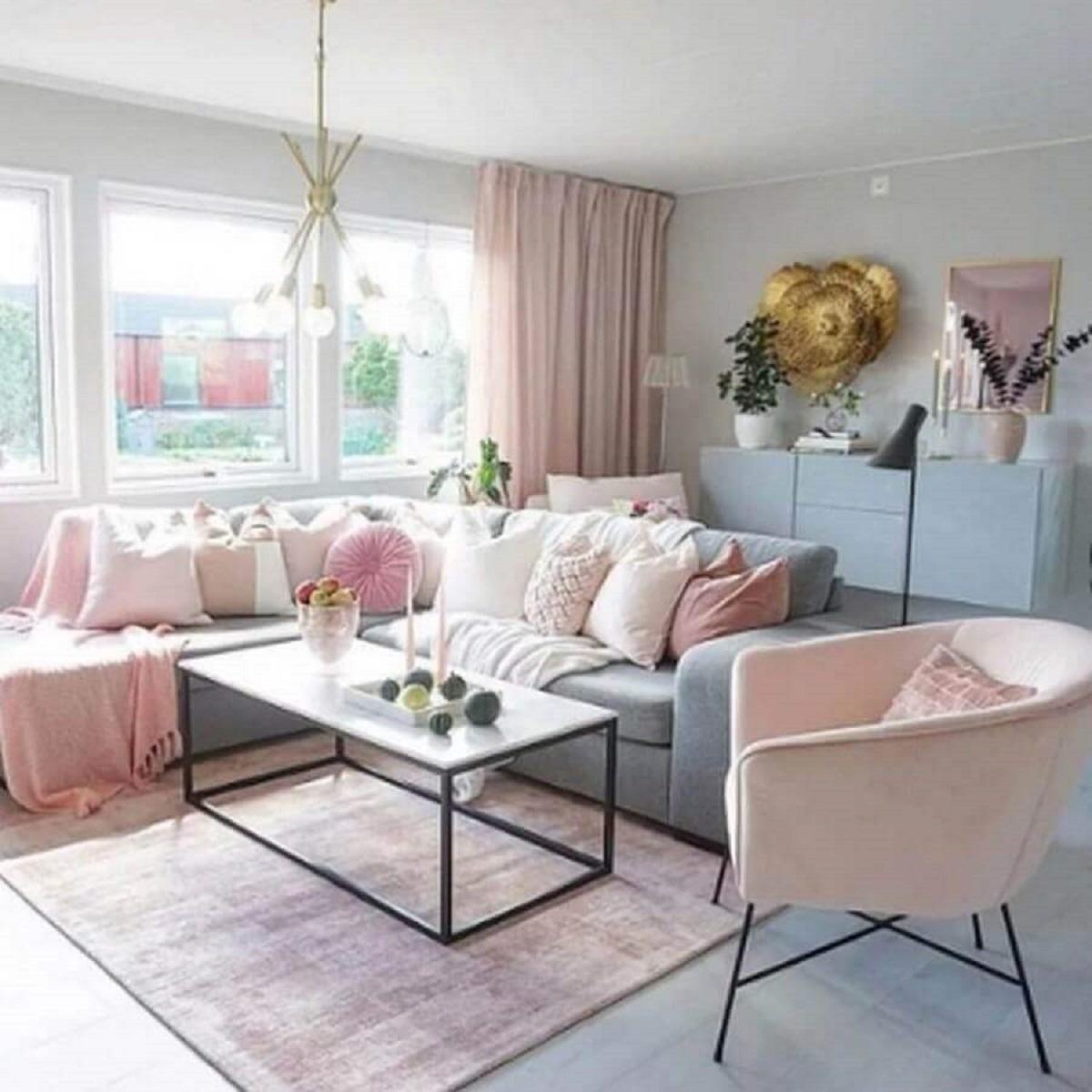 paleta candy colors para sala de estar ampla em azul e rosa Foto Sabrina Ryden