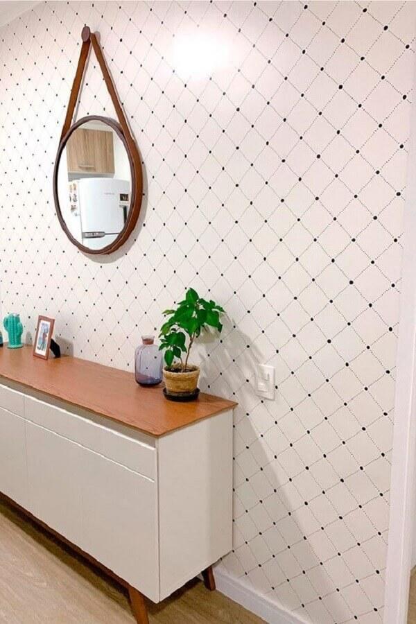 papel de parede branco delicado decorado com espelho redondo com alça Foto Papel Decor