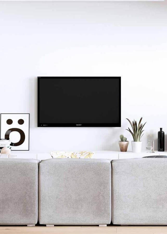 parede branca para decoração de sala de tv minimalista Foto Futurist Architecture