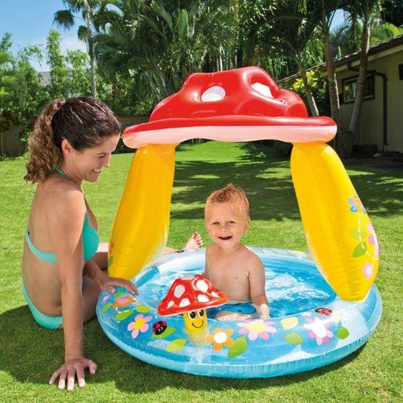 Piscina inflável infantil com cobertura