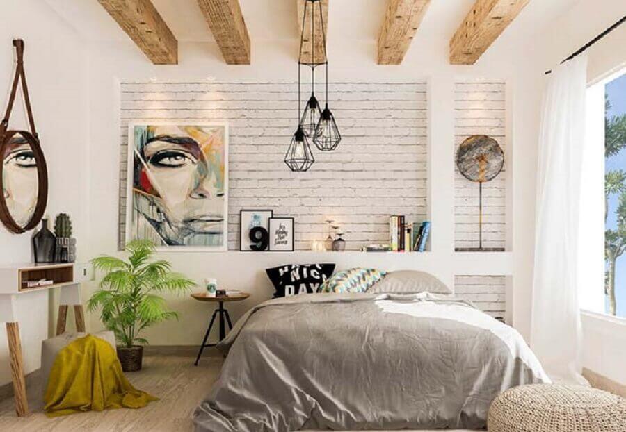 quarto de casal decorado com papel de parede tijolinho branco Foto Pinterest