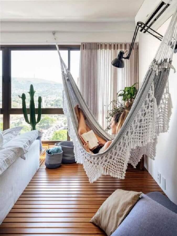 quarto decorado com rede de descanso casal Foto Pinterest