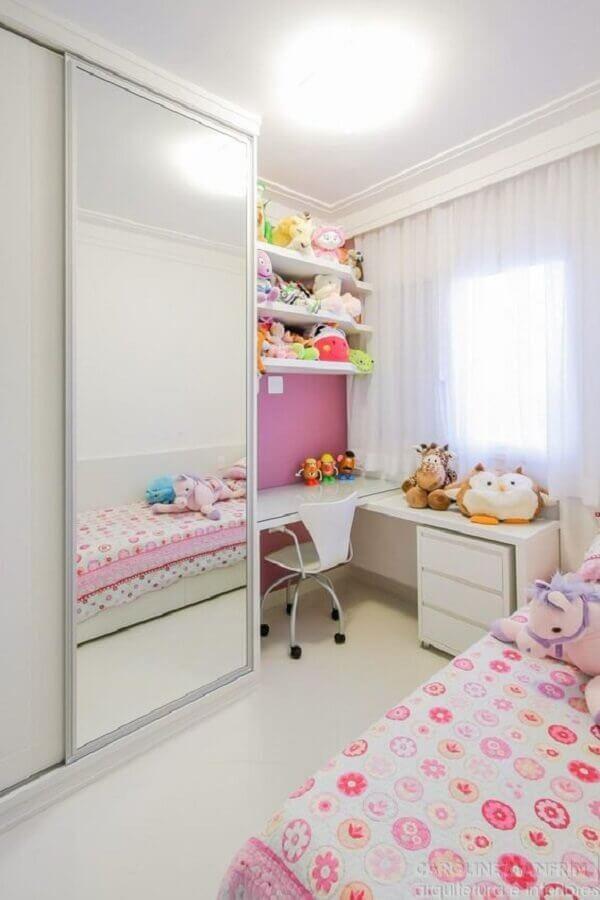 quarto infantil sob medida branco e rosa com guarda roupa espelhado Foto Dicas de Mulher