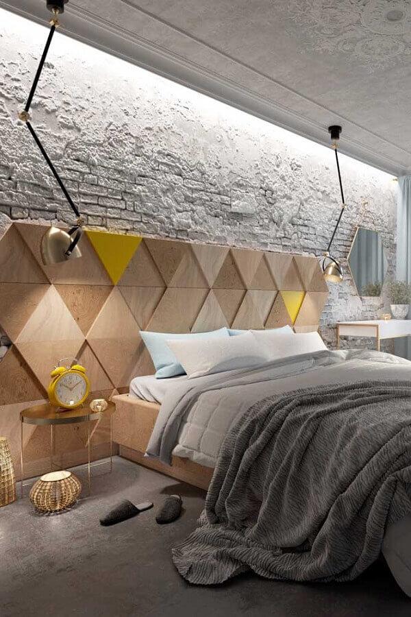 quarto moderno decorado com revestimento tijolinho branco rústico Foto Eduardo Cavalcanti Castro