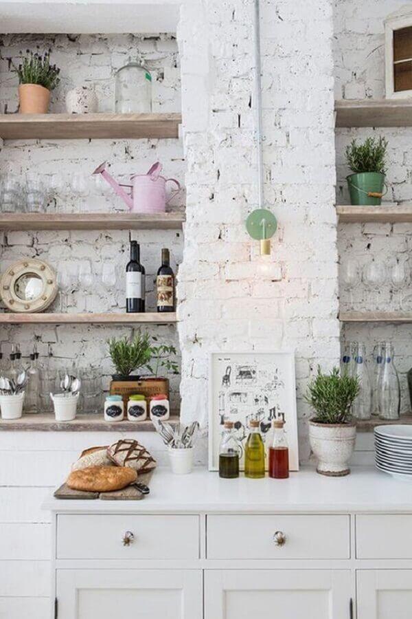 revestimento tijolinho branco rústico para decoração de cozinha Foto Pinterest