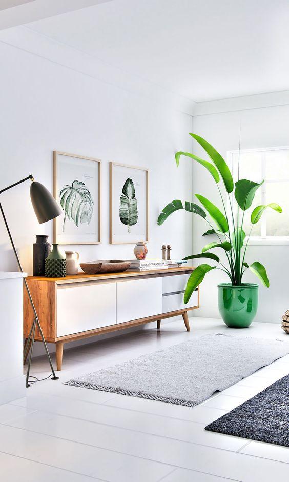 Sala retrô com rack branca e plantas na decoração