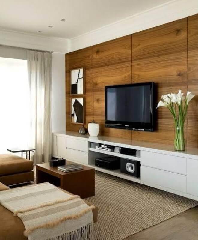 suporte para TV na parede de sala com rack suspenso branco Foto DecoStudio