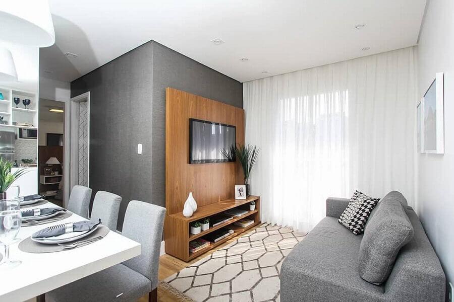 suporte para TV na parede de sala pequena cinza Foto Jeito de Casa