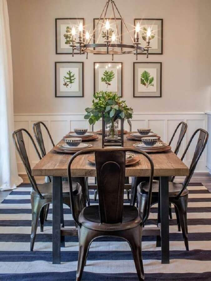 tapete listrado preto e branco para mesa de jantar industrial Foto Pinterest