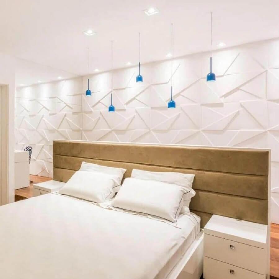 textura parede branca 3d para quarto de casal moderno Arquitetura Essencial