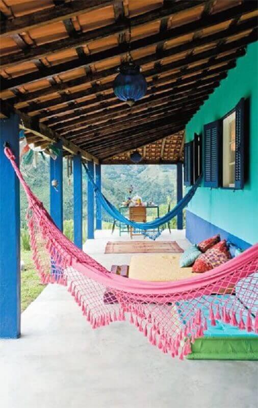 varanda colorida decorada com rede de descanso pequena Foto Pinterest