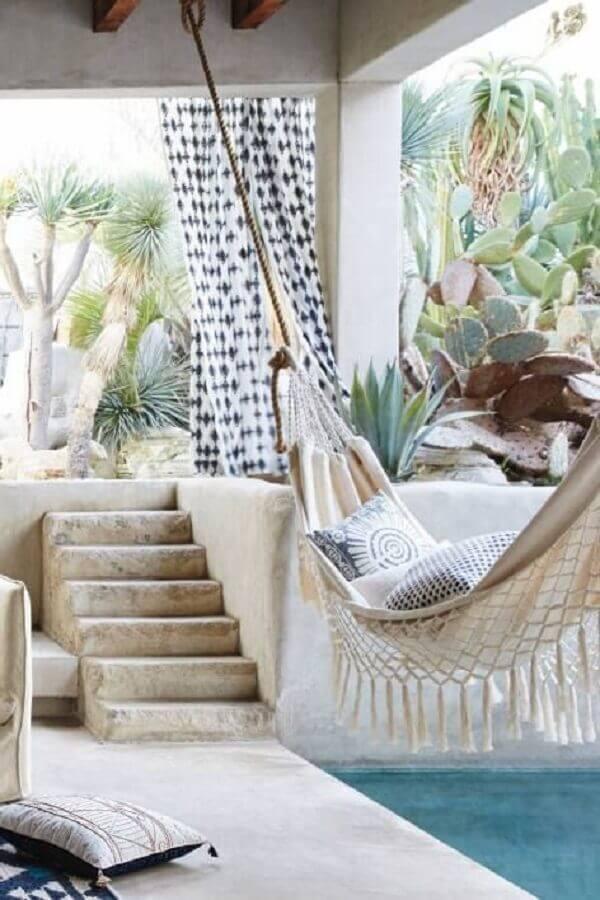 Varanda decorada com rede de descanso Foto Pinterest