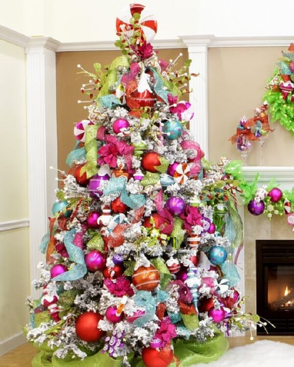 Jolly Christmas tree with blue, pink, orange and green decoration
