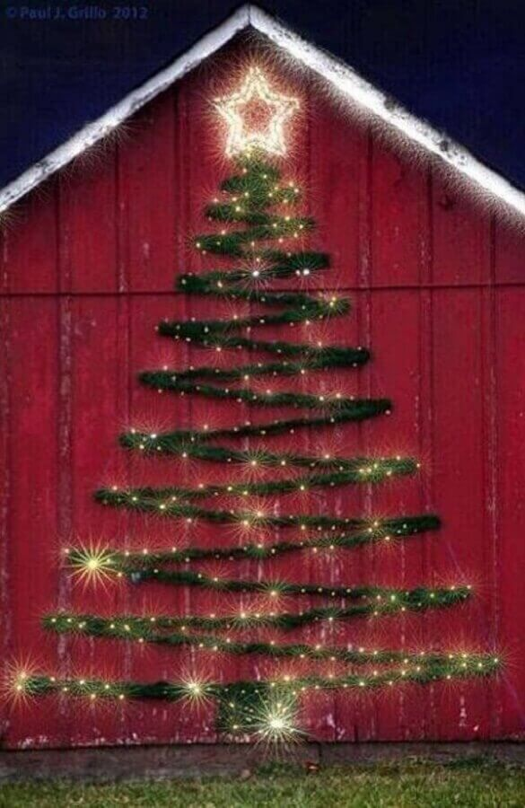 outside area decorated with Christmas tree Photo Pinterest